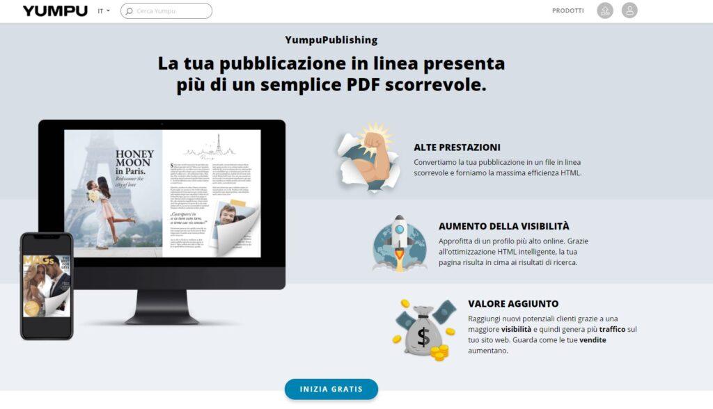 YumpuPublishing crea un pubblicazione con un effetto capovolgimento pagina da un PDF