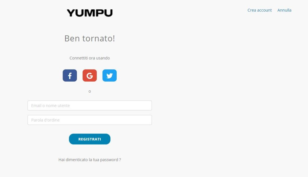 Pagina di registrazione di YumpuPublishing